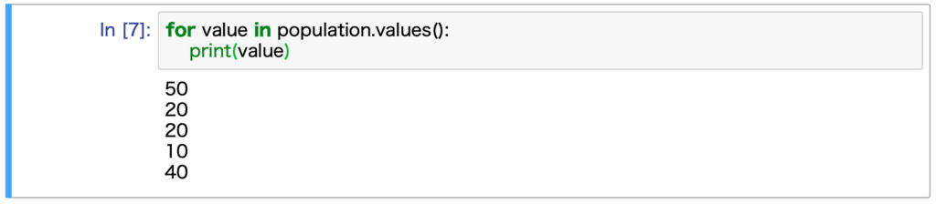 Jupyter Notebookで実行した結果です。辞書のvalueを使った繰り返し処理を行なっています。