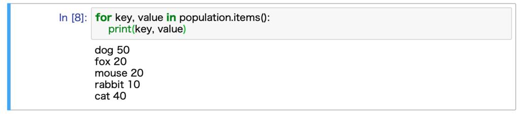 Jupyter Notebookで実行した結果です。辞書のkeyとvalueを使った繰り返し処理を行なっています。