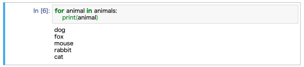 Jupyter Notebookで実行した結果です。for文を使った繰り返し処理を行なっています。